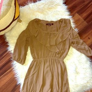 Forever 21 Mocha Ruffle Dress